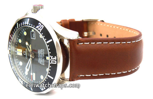 Dark Brown Leather Watch strap White Stitched For Omega Seamaster Professional Watches