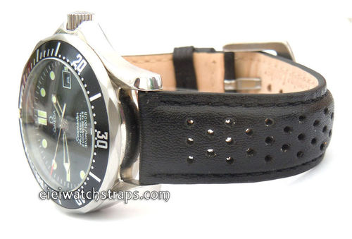 Rallye Perforated Black Leather Watch Strap Omega Seamaster & Omega Planet Planet Ocean Watches