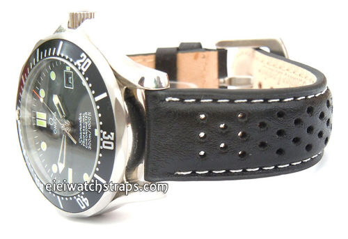 Rallye Perforated White stitched Black Leather Watch Strap Omega Seamaster