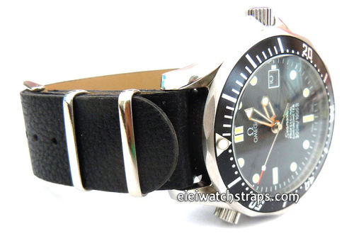 NATO Black Leather Watch Strap For Omega Seamaster & Omega Planet Planet Ocean Watches