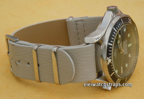 NATO Gray Leather Watch Strap For Omega Seamaster & Omega Planet Planet Ocean Watches