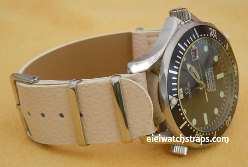 NATO Cream Leather Watch Strap For Omega Seamaster & Omega Planet Planet Ocean Watches