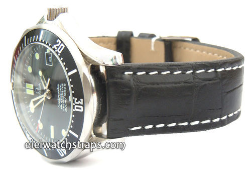 Black Alligator Grain Padded Leather Watchstrap For Omega Seamaster Professional