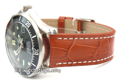Brown Alligator Grain Padded Leather Watchstrap For Omega Seamaster Professional