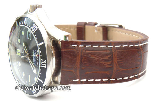 Dark Brown Alligator Grain Padded Leather Watchstrap For Omega Seamaster Professional