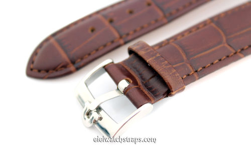 Brown Crocodile Curved lug Ended Watch Strap Vintage Buckle For Omega Seamaster Professional