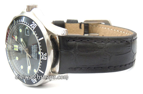 Black Crocodile Watch Strap For Omega Seamaster Professional