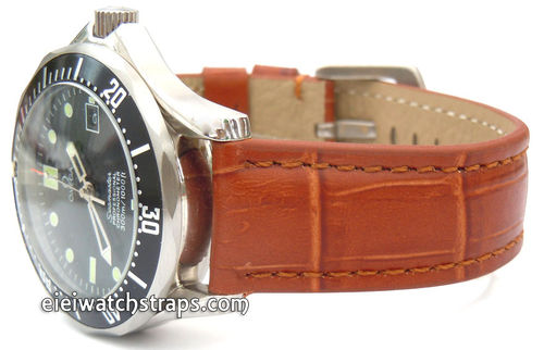 Brown Crocodile Watch Strap For Omega Seamaster Professional