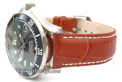 White Stitched 20mm Brown Crocodile Watch Strap For Omega Seamaster Professional