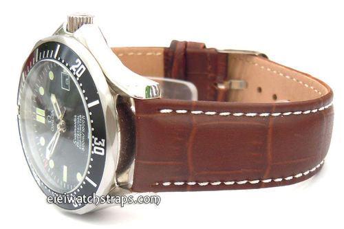 White Stitched Dark Brown Crocodile Watch Strap For Omega Seamaster Professional