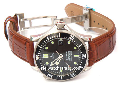 Classic Brown Crocodile Grain Leather Watch Strap Deployment Clasp For Omega Seamaster Professional