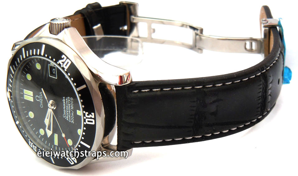 af90cbd8c0c ... White Stitched Black Crocodile Grain Leather Watch Strap Deployment  Clasp For Omega Seamaster ...
