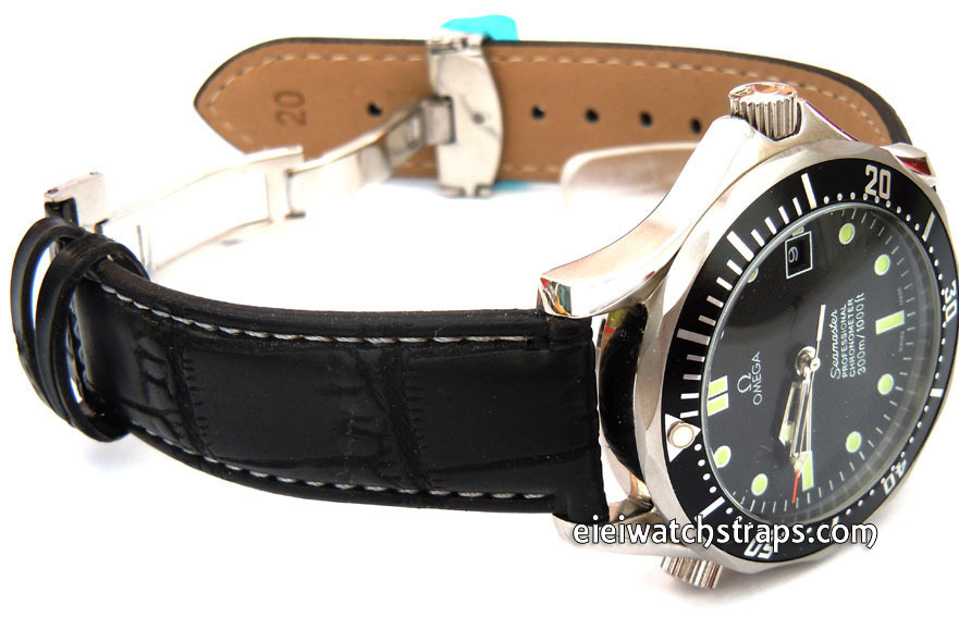 4c4bdd4d235 White Stitched Black Crocodile Grain Leather Watch Strap Deployment Clasp  For Omega Seamaster - eieiwatchstraps.com