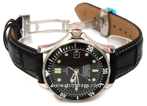 White Stitched Black Crocodile Grain Leather Watch Strap Deployment Clasp For Omega Seamaster