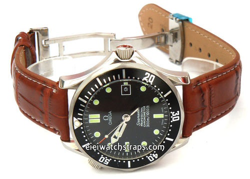 White Stitched Brown Crocodile Grain Leather Watch Strap Deployment Clasp For Omega Seamaster