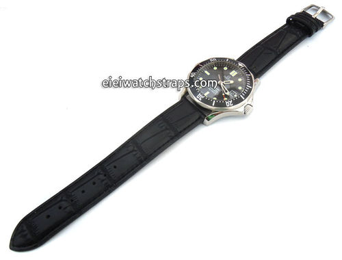 Classic Black Crocodile Grain Leather Watch Strap For Omega Seamaster Professional