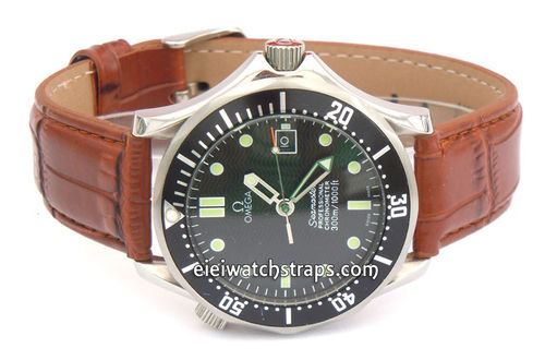 Classic Brown Crocodile Grain Leather Watch Strap For Omega Seamaster Professional