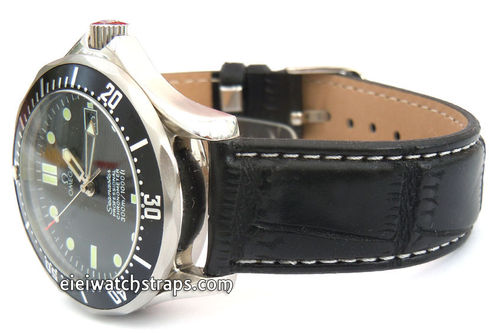 White Stitched Black Crocodile Watch Strap For Omega Seamaster Professional