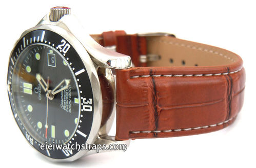 White Stitched Brown Crocodile Watch Strap For Omega Seamaster Professional