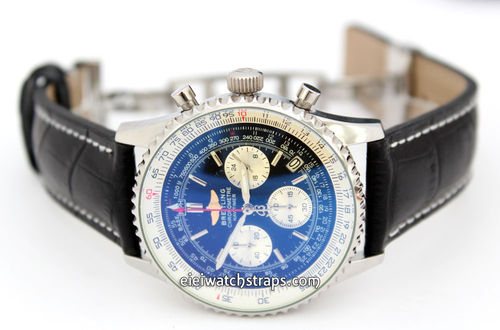 Black Alligator Grain Padded Leather Watchstrap on Deployment Clasp For Breitling Navitimer