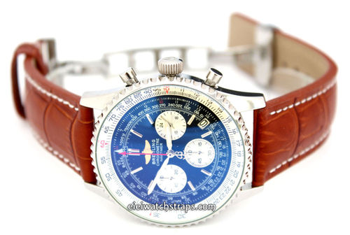 Brown Alligator Grain Padded Leather Watchstrap on Deployment Clasp For Breitling Navitimer