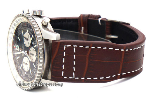 Aviator 22mm Dark Brown Alligator watch strap on Deployment Clasp For Breitling Navitimer