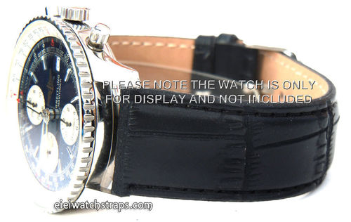 Black Crocodile Watch Strap For Breitling Navitimer