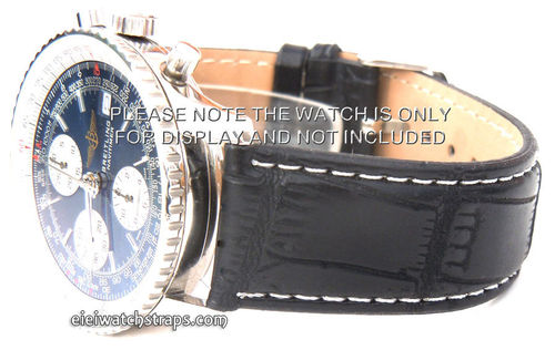 Black Crocodile White Stitched Watch Strap For Breitling Navitimer