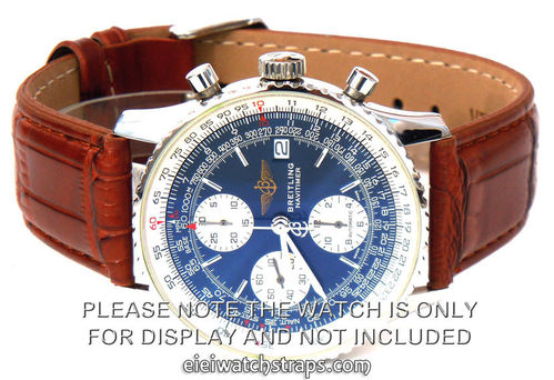 Brown Crocodile Watch Strap For Breitling Navitimer