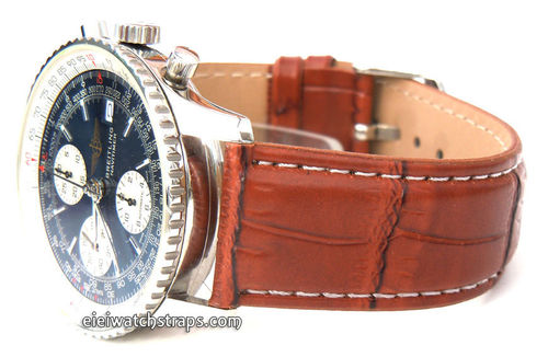 Brown Crocodile White Stitched Watch Strap For Breitling Navitimer
