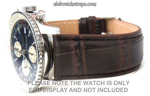 Dark Brown Crocodile Watch Strap For Breitling Navitimer