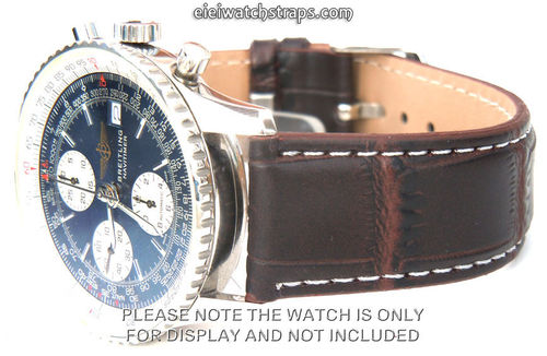 Dark Brown Crocodile White Stitched Watch Strap For Breitling Navitimer