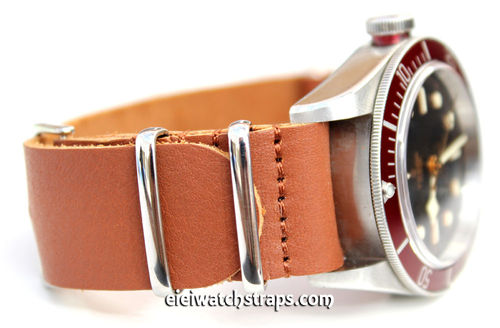 NATO Genuine Brown Leather Watch strap For Tudor Black Bay Watches
