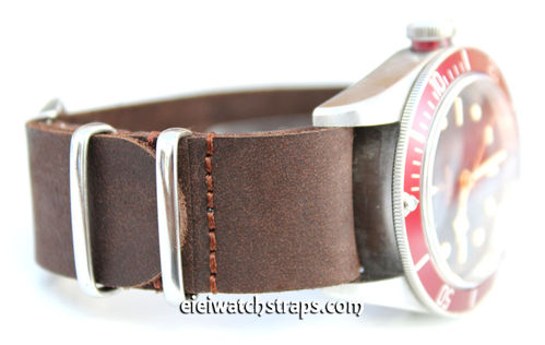 NATO Genuine Coffee Brown Leather Watch strap For Tudor Black Bay Watches