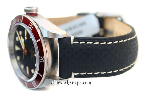 Carbon Fibre 22mm Black Leather White Stitching Watch Strap For Tudor Black Bay Watches
