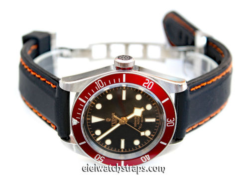 Silicon Rubber Watchstrap Orange Stitched on Stainless Steel Deployment For Tudor Black Bay Watch