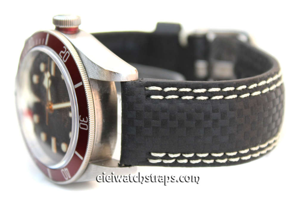 3d8188e16 Carbon Fibre 22mm Black Leather White Stitching Watch strap For Tudor Black  Bay Watches