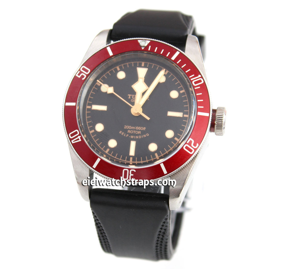 Monza 22mm silicon rubber watch strap for tudor black bay watches for Rubber watches