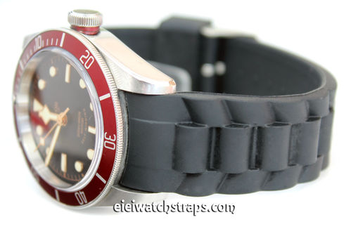 Oyster Pattern Curved Lugs Silicon Rubber Watch Strap For Tudor Black Bay Watches