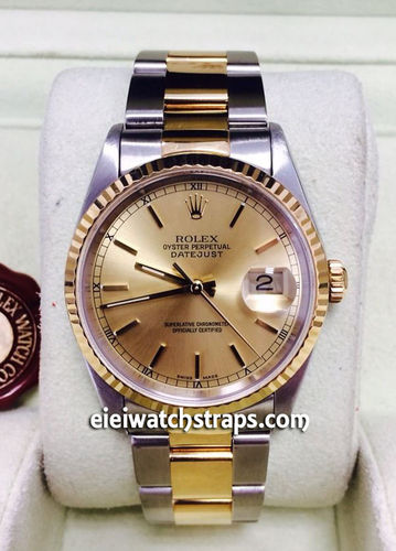Rolex Datejust Steel And Gold On Oyster Bracelet Model 16233