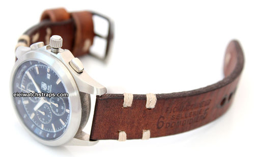 Dom Hand Made Vintage style Ammo Leather watch strap For TAG Heuer Link Watches