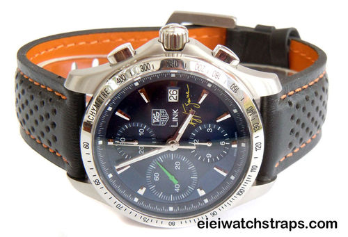 TAG Heuer Motorsport Leather Watch Strap Orange Stitching For Tag Heuer Link Watches