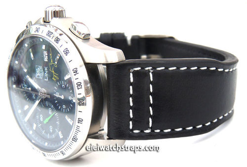 Aviator 22mm Black Calf Leather watchstrap on Deployment Clasp For TAG Heuer Link Watches