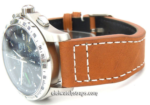 Aviator 22mm Tan Brown Calf Leather watchstrap on Deployment Clasp For TAG Heuer Link Watches