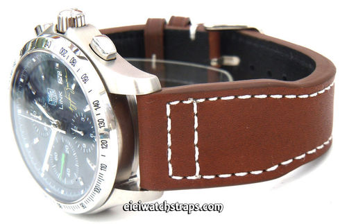 Aviator 22mm Brown Calf Leather watchstrap on Deployment Clasp For TAG Heuer Link Watches