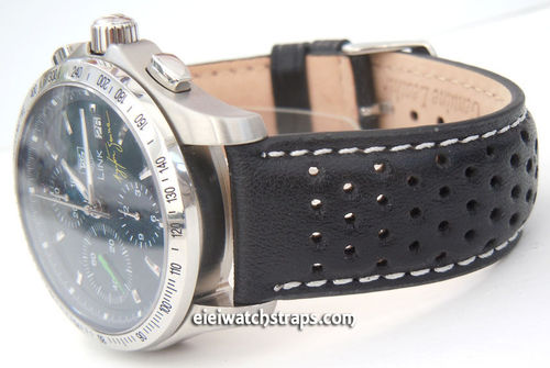 Rallye Perforated WHITE stitched Black Leather Watchstrap For TAG Heuer Link Watches