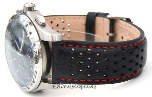 Rallye Perforated Red Stitched Leather Watchstrap For TAG Heuer Link Watches