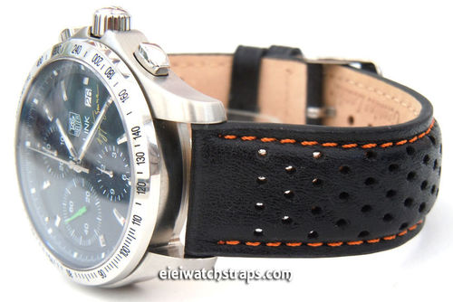 Rallye Perforated Orange Stitched Leather Watchstrap For TAG Heuer Link Watches