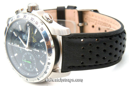 Rallye Perforated Stitched Black Leather Watchstrap For TAG Heuer Link Watches