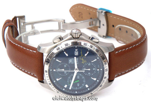 Brown Leather Watch strap on butterfly deployant clasp White Stitched For TAG Heuer Link Watches